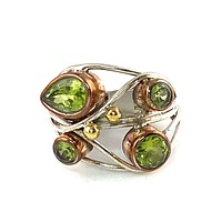 Peridot Sterling Silver Three Tone Collage Ring