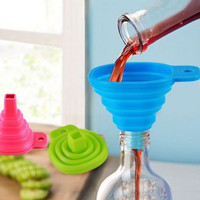 Candy Color Kitchen Tool Silicone Collapsible Style Mini Foldable Folding Portable Funnel Color Random = 1958287748