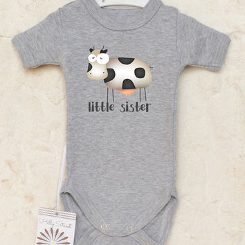 Little Sister Baby Clothes. Cute and Funny Cow Baby Bodysuit. Baby Girl Clothes. Customized Baby Shirt. With Or Without Text.