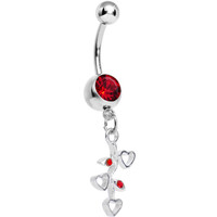 Red Gem Branch of Love Heart Dangle Belly Ring | Body Candy Body Jewelry