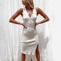 fhotwinter19 Knitted breasted vest split casual sexy hollow V-neck dress
