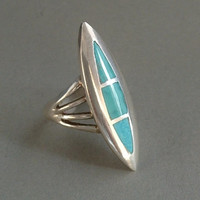 Vintage NATIVE American Sterling Silver ZUNI Ring Turquoise MOSAIC Inlay Gemstones