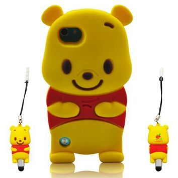 Wandeneng Winnie the Pooh 3d Ipod Touch 5 Soft Silicone Case Cover Faceplate Protector for Itouch 5g 5th Generation