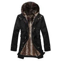 Hee Grand Men's Luxury Faux Fur Long Winter Trench Coat