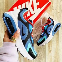 Nike Air Max 200 Fashion New Sports Air Sneakers Contrast Polyline Print Running Shoes Blue