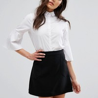 New Look Flare Sleeve Poplin Shirt at asos.com