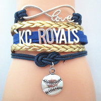 Infinity Love Kansas City Royals baseball Bracelet BOGO (KC)