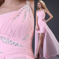 Hot Pink Bridal Gown Bridesmaid ball party formal prom cocktail homecoming dress
