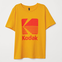 T-shirt with Printed Design - Yellow/Kodak - Ladies | H&M US