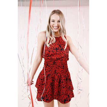 Simone Sleeveless Smocked Mini Dress, Red Leopard