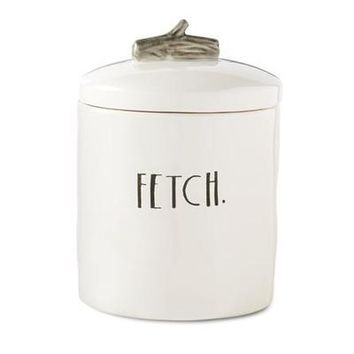 "Rae Dunn Stem Print ""Fetch"" Dog Treat Canister"