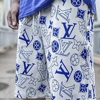 LV full printed letter logo casual beach shorts