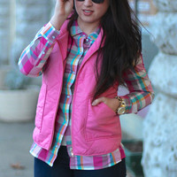 Poppin' Spring Quilted Vest {Pink}