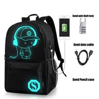 Anime Backpack School Student School Backpack kawaii cute Luminous USB Charge Laptop Computer Backpack For Teenager Anti-theft Boys School Bag Backpacks #YL AT_60_4
