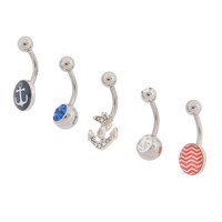 14G Nautical Belly Rings Set of 5