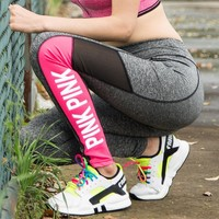 Pink Permeable Quick Dry Casual Yoga Fitness Workout Sportswear [103285751823]