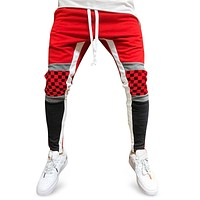Colorblock Patchwork Checked Print Track Pants