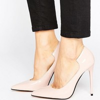 Lost Ink Freya Light Pink Curved Court Shoes at asos.com