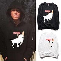Palace Hoodie Meng dog funny B dog thin section of terry sweater Hip Hop Men and Women Couple Supremitied Sweater Jacket
