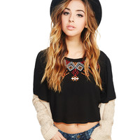 Boho Embroidered Crop Blouse   Wet Seal