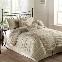 Chezmoi Collection 7-piece Chic Ruched Taupe Comforter Set, Queen Size (with Throw Pillows)