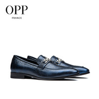 OPP Men's Leather Dress Shoes  Fashion Style Breathable Dress Shoes With Buckle Blue/Wine