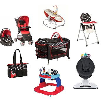 Disney Mickey Baby Gear Bundle,Travel System,Play Yard,Bouncer,Swing & Diaper Bag