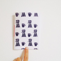 Coffee Journal, Hand Printed with Linocut, Pocket Notebook, Coffee Lovers Gift, Black and White