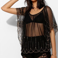 "~~~ MAJOR GLAM-SLAM!!!!! ~~~ ECOTE BLACK SHEER ""GOLD BEADED"" BLOUSE/TOP ~ M/L"