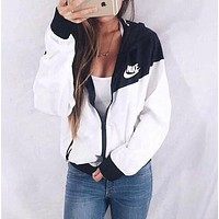 Hooded Zipper Cardigan Sweatshirt Jacket Coat Windbreaker Sportswear
