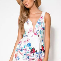 White V-Neck Bowknot Floral Print Skater Dress