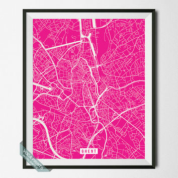 Ghent Print, Belgium Map Poster, Ghent Street Map, Belgium Print, Northwest Belgium, Room Decor, Modern Print, Wall Art, Back To School