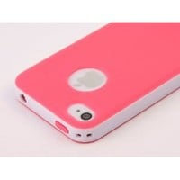 Pandamimi Dexule Rose Red White Fashion Sweety Girls TPU , PC 2-Piece Style Hard Case Cover for iPhone 4 4S with Screen Protector