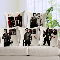 45X45cm The Walking Dead Decorative Throw Pillows Case Linen Cotton Cushion Cover Creative Decoration for Sofa Car Covers