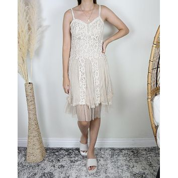 Ryu Time Will Tell Lace Dress in Beige