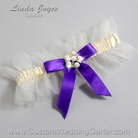 """Ivory and Purple Tulle Wedding Garter Bridal """"Natalie"""" Silver 871 Ivory 465 Eggplant Purple Prom Luxury Garter Plus Size & Queen Size"""