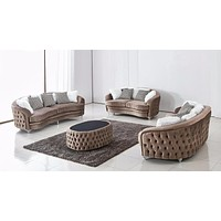 Luxury Velvet Sofa Set With Ottoman