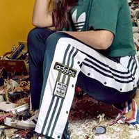 Adidas Originals Adibreak Poppe Pants Snap Track Bottom Women Men Sides Open Button Trousers B-AA-XDD Dark green