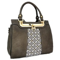 Rhinestone Bling Fashion Handbag Purse w/ Shoulder Strap Dark Gray