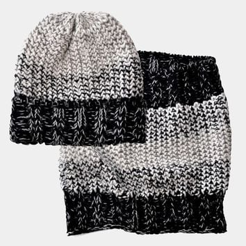 Gradient Rib Knit White and Black Collection