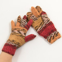 Hand Knitted Gloves - Brown, Red and Beige, Size Medium