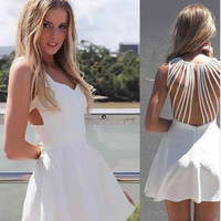 Pleated A Line Strappy Back Mini Dress