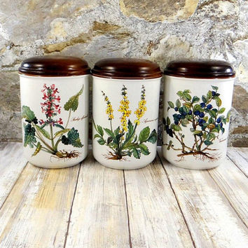 Vintage Villeroy and Boch Botanica Storage Jar Set, Porcelain with Wood Lids