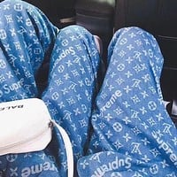 LV Louis Vuitton x Supreme Trending Women Men Stylish Monogram Print Blue Cowboy Pants Trousers I/A