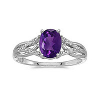 10kt White Gold 8/6mm Oval Amethyst and Diamond Ring