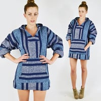 vtg 80s 90s grunge hippie surf blue ethnic baja MEXICAN striped woven blanket HOODED PONCHO jacket top S M L
