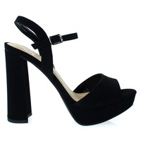Forest Black By Delicious, Women Glitter Party Sandal, Chunky Block Heel Platform Open Toe Shoes