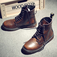 Plus Size 37-47 Winter Casual Men Boots Martin England Trend Gaiters Leather Retro For Workers Men Boots Round Toe Men Botas