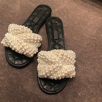 Outer Slippers Women's Shoes Sandals Flat Shoes Flat Heel Summer Pearl Fashion Casual Sandals And Slippers