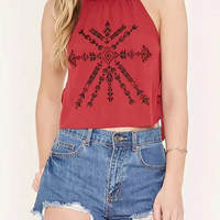 Red Cut Out  Embroidered Cami Crop Top